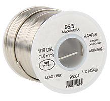 "Harris 95561 95/5 Lead-Free Tin-Antimony Solder, 1/8"" Dia x 1 lb. Spool"