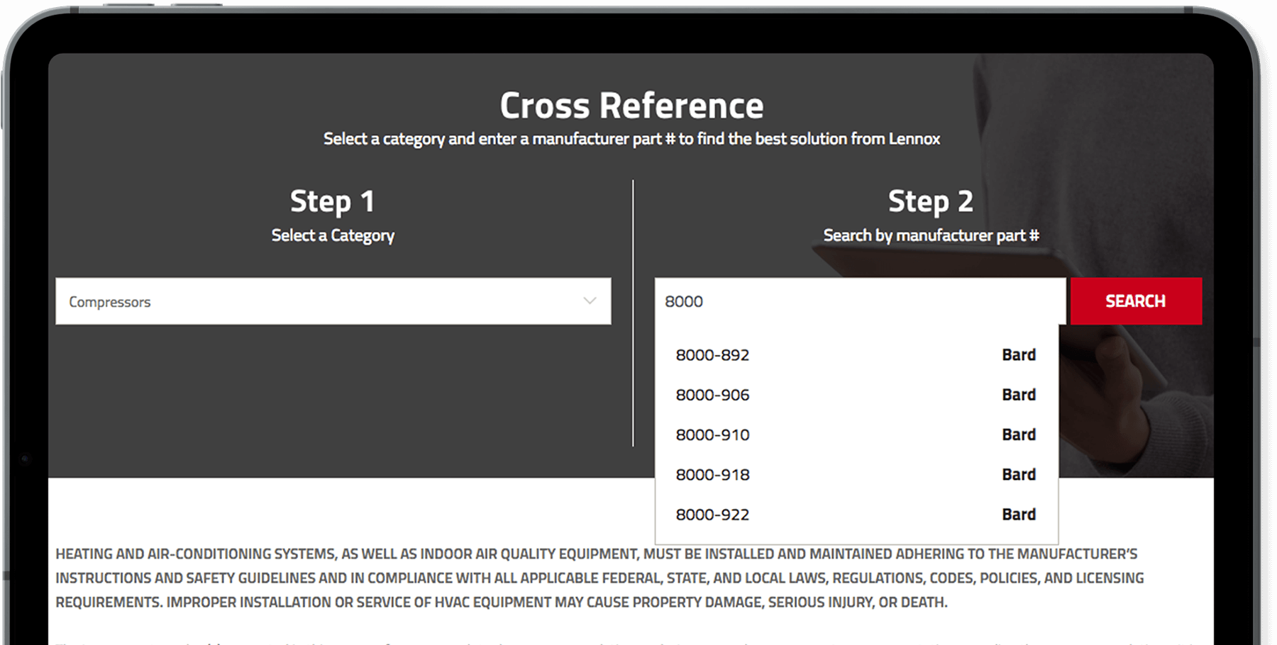 Using the Cross Reference Tool | LennoxPROs com