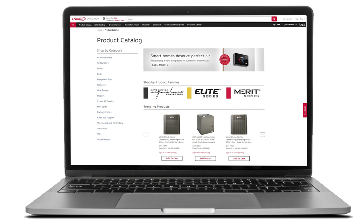 laptop showing product catalog page