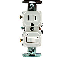 Electrical Switch/Plug Combo, White, 1P 3W Grounding, 15A, 120V