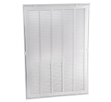 190 Series 14X30 Stamped Steel Return Air Filter Grille with Fixed Hinge, White Powder Coat Finish