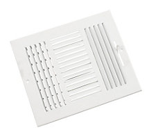 103 Series 10X08 3-Way Side Wall/Ceiling Register with Multi-Shutter Damper White