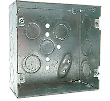 "4"" Steel Square Electrical Outlet Boxes"" 1-1/4"" Deep 1/2"" K.O."