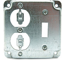 """One switch and One Duplex Receptacle Cover, 4"""" Steel Square Boxes"""