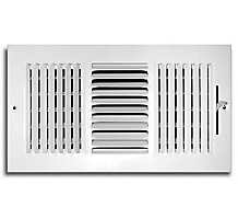 103 Series 12X08 3-Way Side Wall/Ceiling Register with Multi-Shutter Damper White