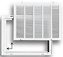 190 Series 14X14 Stamped Steel Return Air Filter Grille with Removable Face, White Powder Coat Finish