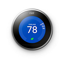 Nest T3008US, Learning Wi-Fi Programmable Thermostat, Stainless Steel