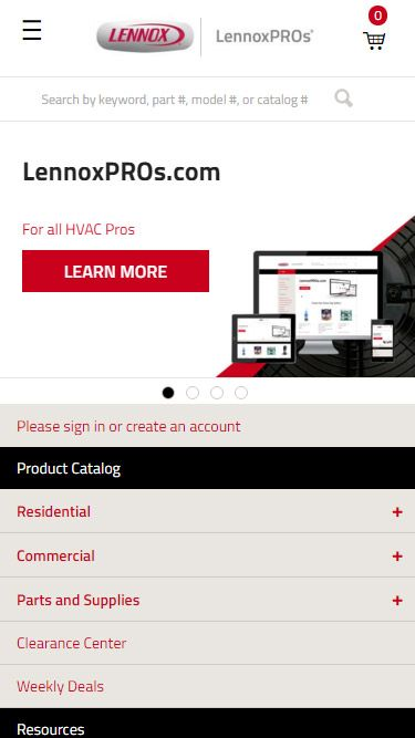 LennoxPROs homepage