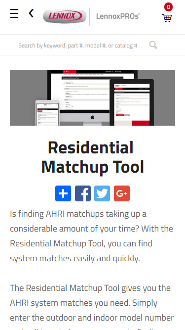 Residential Matchup Tool Article